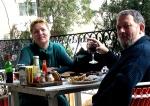 Lára and Odd at the Diplomat restaurant in Amman.